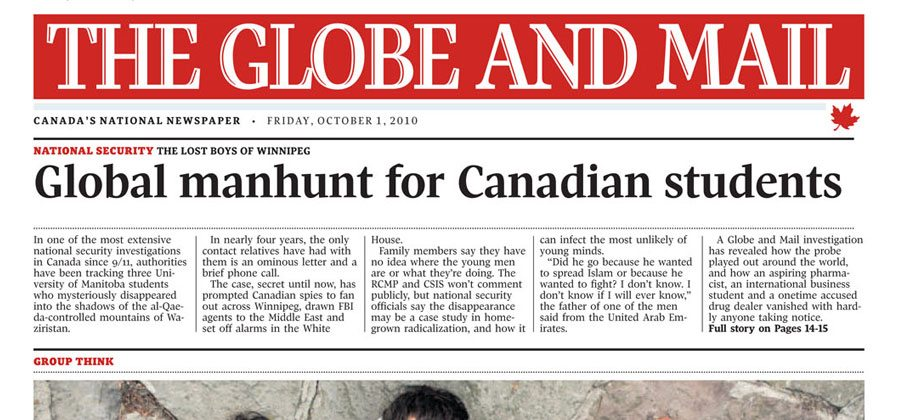 The Globe and Mail newspaper example