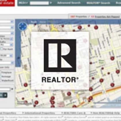 MLS Realtor logo on blurred background of a map with property listings.
