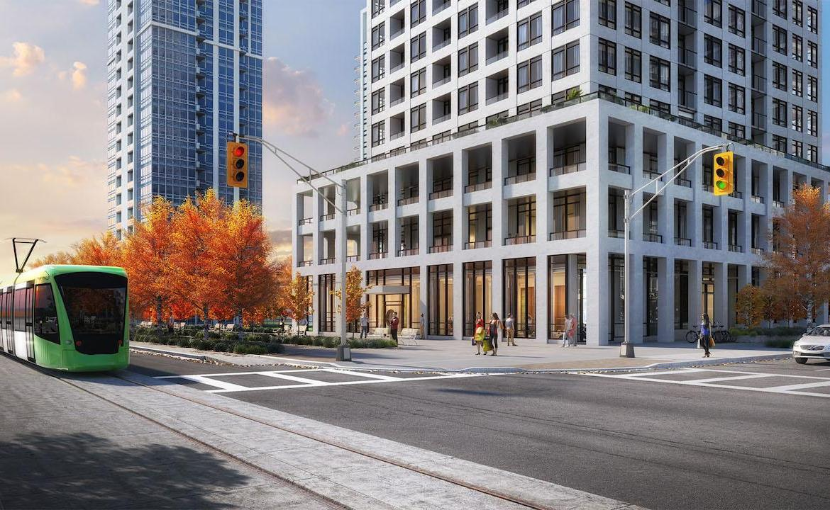Rendering of Edge Towers building exterior at ground-level and street area.