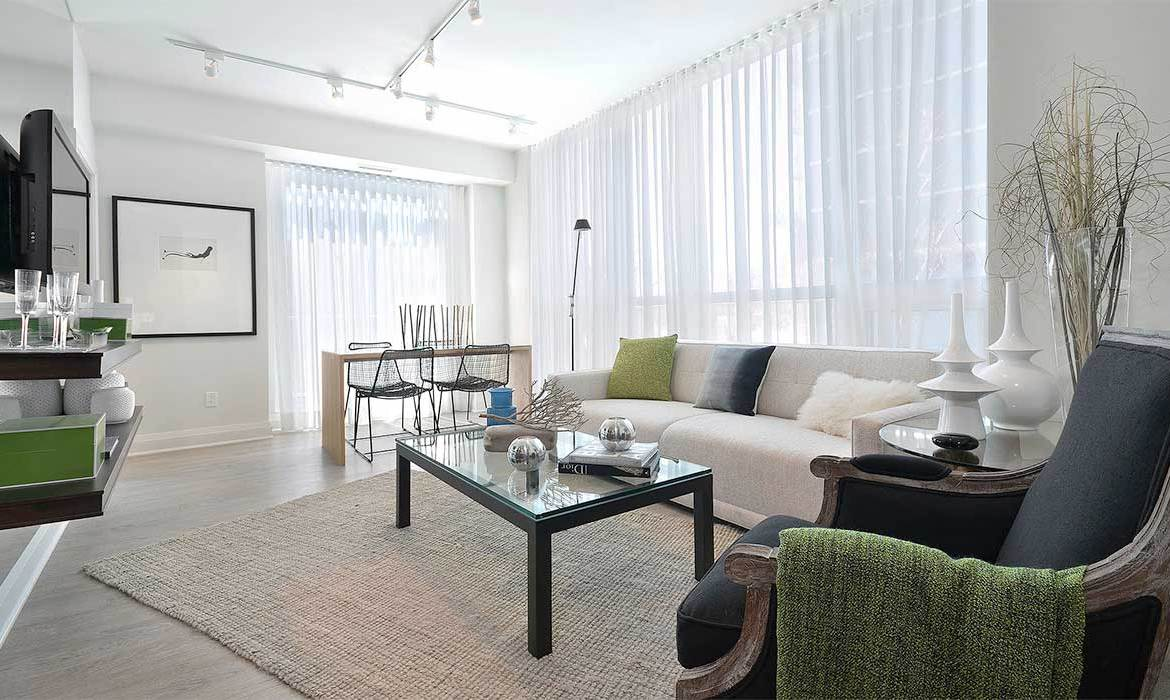 Interior living room of a suite in IQ Condos Toronto