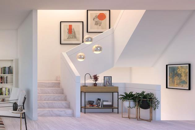 Rendering of The Vince townhouse staircase.
