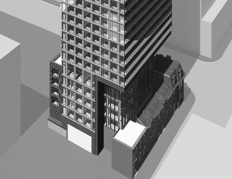Rendering of Garden District Condos building exterior - view of front and left side.