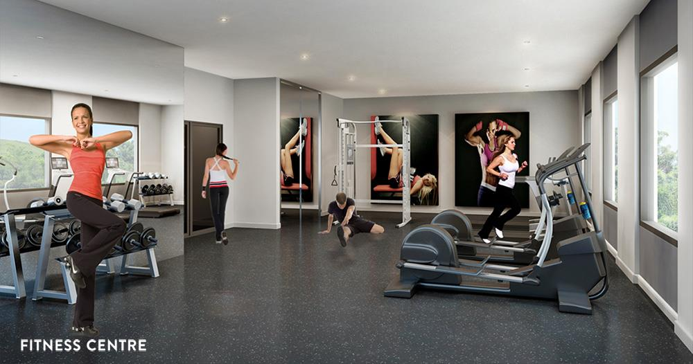 Rendering of Platinum Condos interior fitness centre.