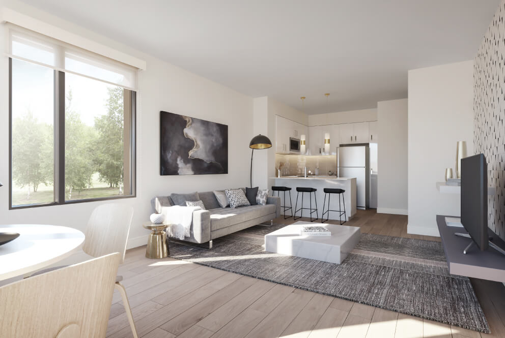 Rendering of The Way Towns unit interior - living room and kitchen.