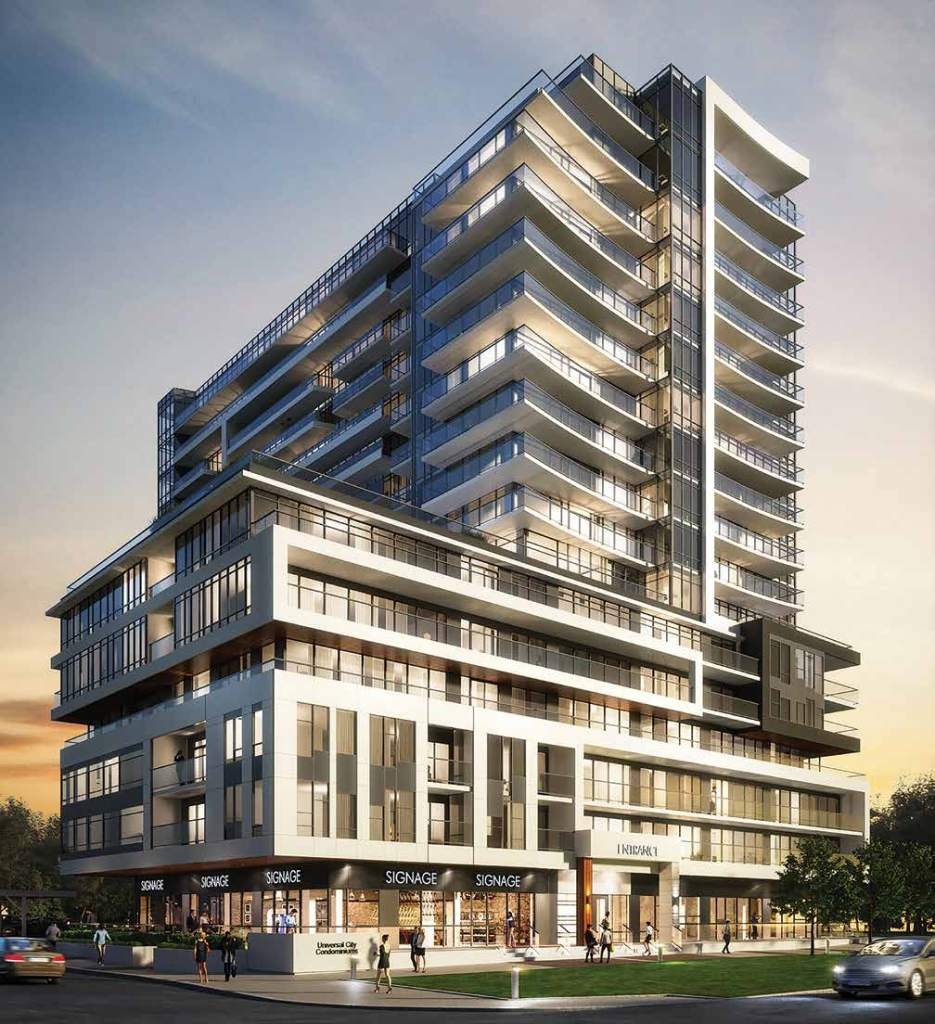 Exterior rendering of Universal City Condos in Pickering