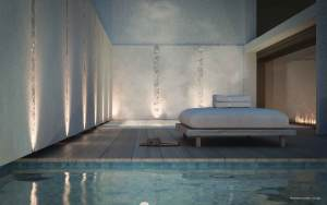 Rendering of 50 Scollard Yorkville Condos lounger by the indoor pool