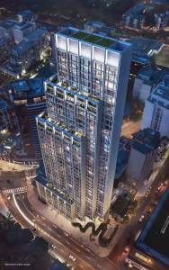 Rendering of 50 Scollard Yorkville Condos building top-down view at night.