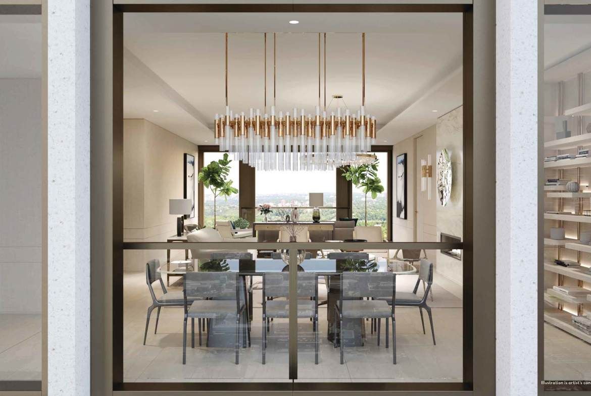 Rendering of 50 Scollard Yorkville Condos suite with dining area by tall window.