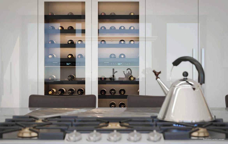 Rendering of 50 Scollard Yorkville Condos large wine fridge in suite kitchen.