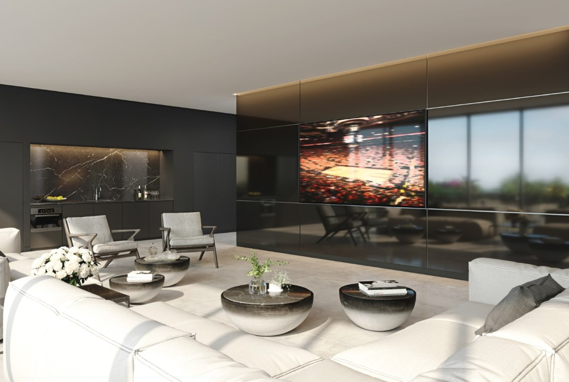 Rendering of 28 Eastern Condos media lounge.
