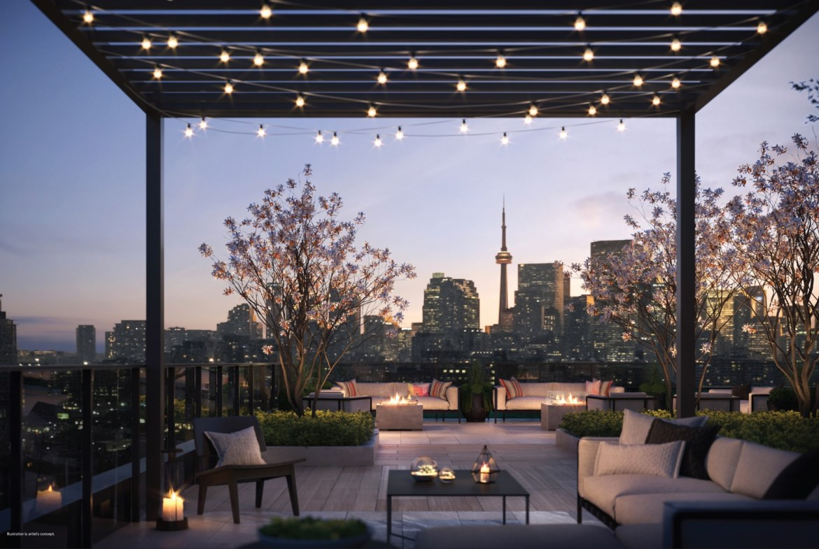 Rendering of 28 Eastern Condos rooftop terrace at dusk.