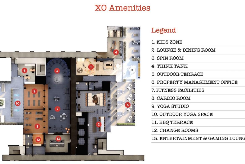 XO Condos amenities list with diagram.