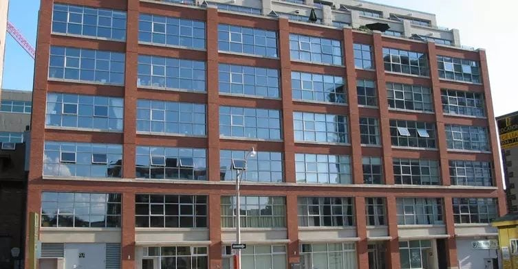 Exterior image of the Camden Lofts in Toronto