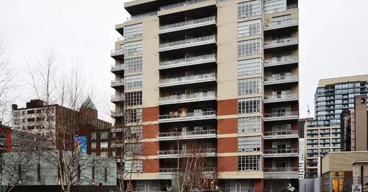 Exterior image of the Quad Lofts in Toronto