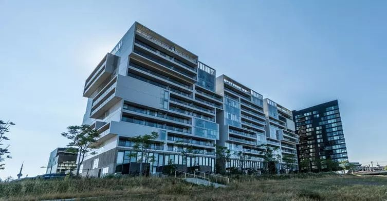 Exterior image of the River City Condos in Toronto
