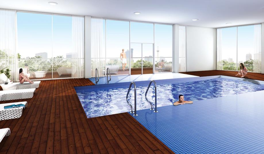 Rendering of Emerald City 2 Condos indoor swimming pool
