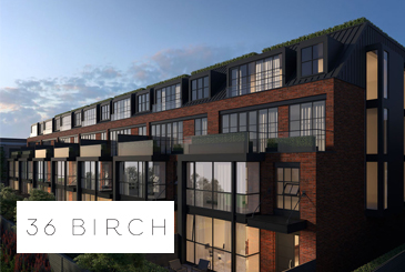 Exterior rendering of 36 Birch Condos with logo overlay.
