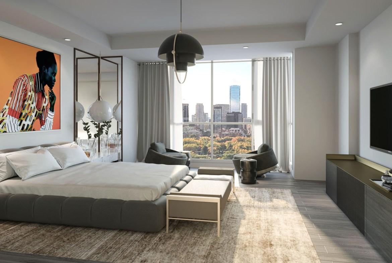 Interior rendering of 36 Birch Condos unit bedroom.