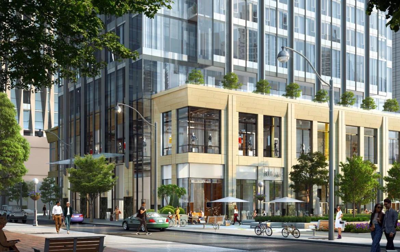 Rendering of CRU 11 Yorkville Condos building exterior street area.