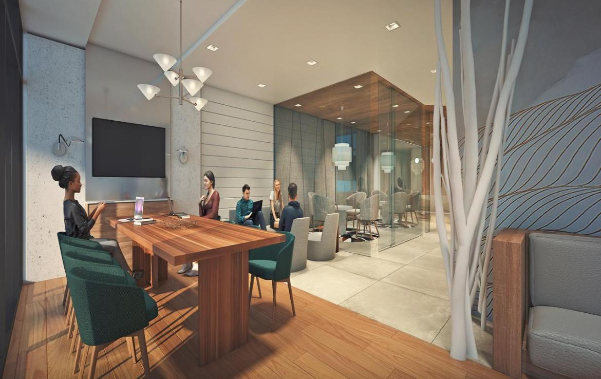 Rendering of River and Fifth Condos Business Lounge