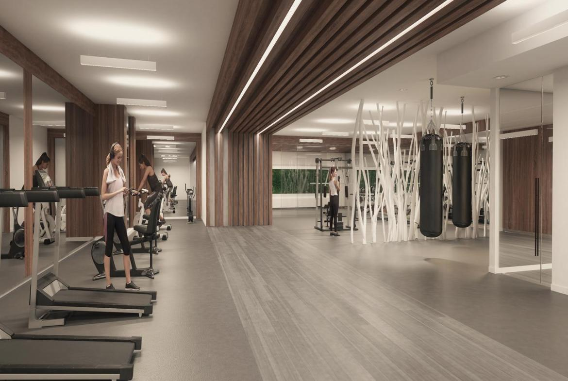 Rendering of River and Fifth Condos Gym