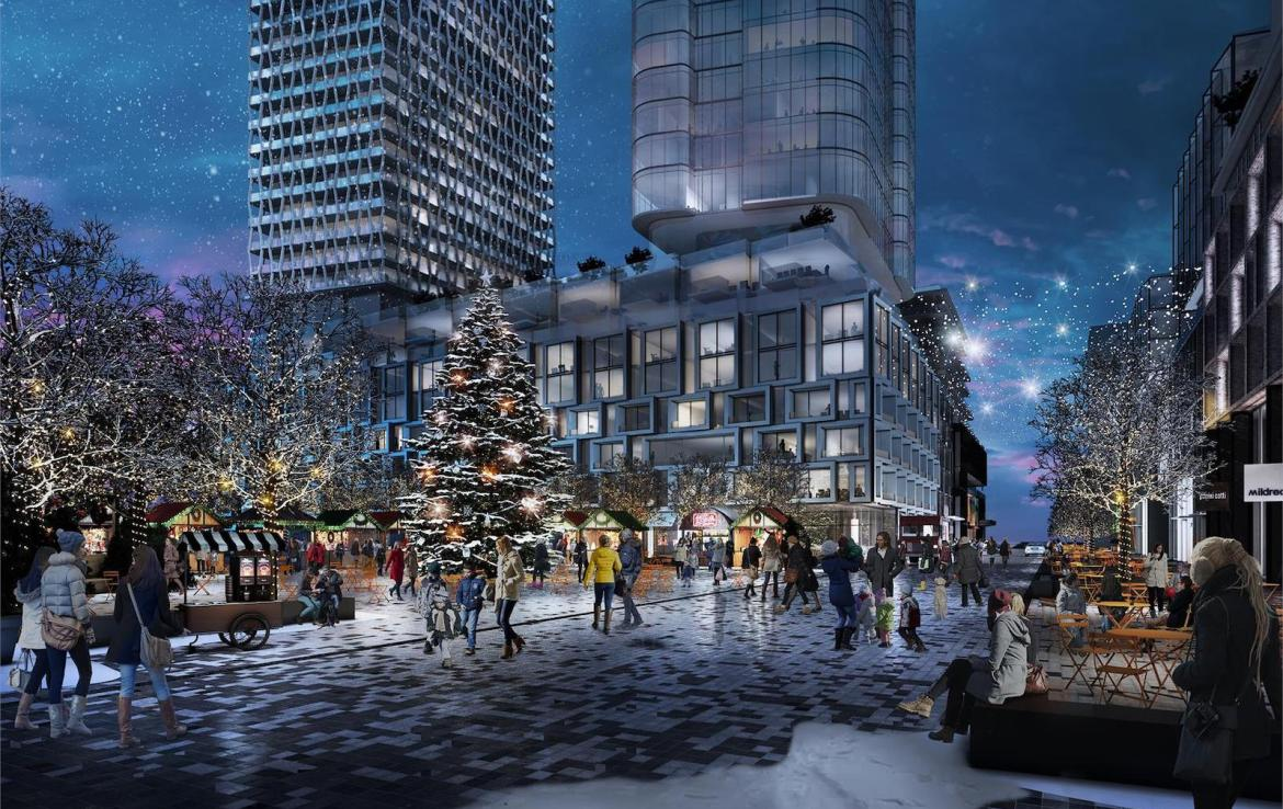 Bloor & Dufferin Condos Community Park and Square (Winter) Rendering