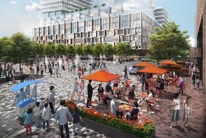 Bloor & Dufferin Condos Community Park and Square (Summer) Rendering