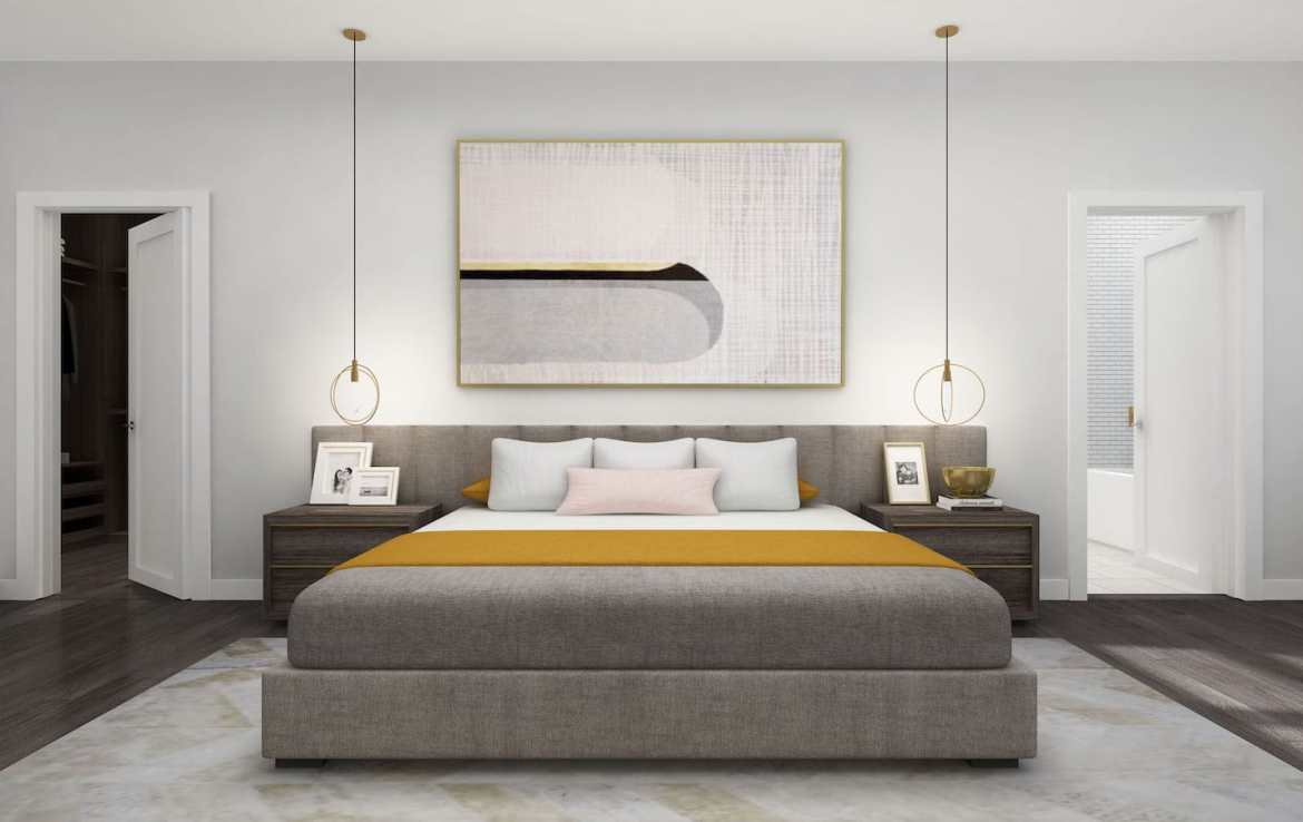 NuTowns Interior Rendering of Bedroom, Master Suite and Walk-in Clost