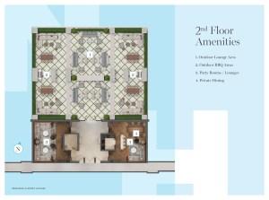 Sitemap of Notting Hill Condos 2nd floor amenities.