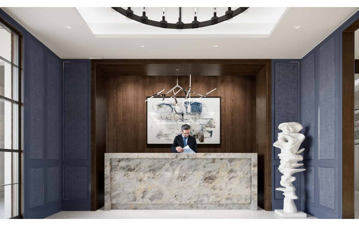 Rendering of Notting Hill Condos lobby concierge.