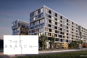 Exterior rendering of The Branch Condos with logo overlay.