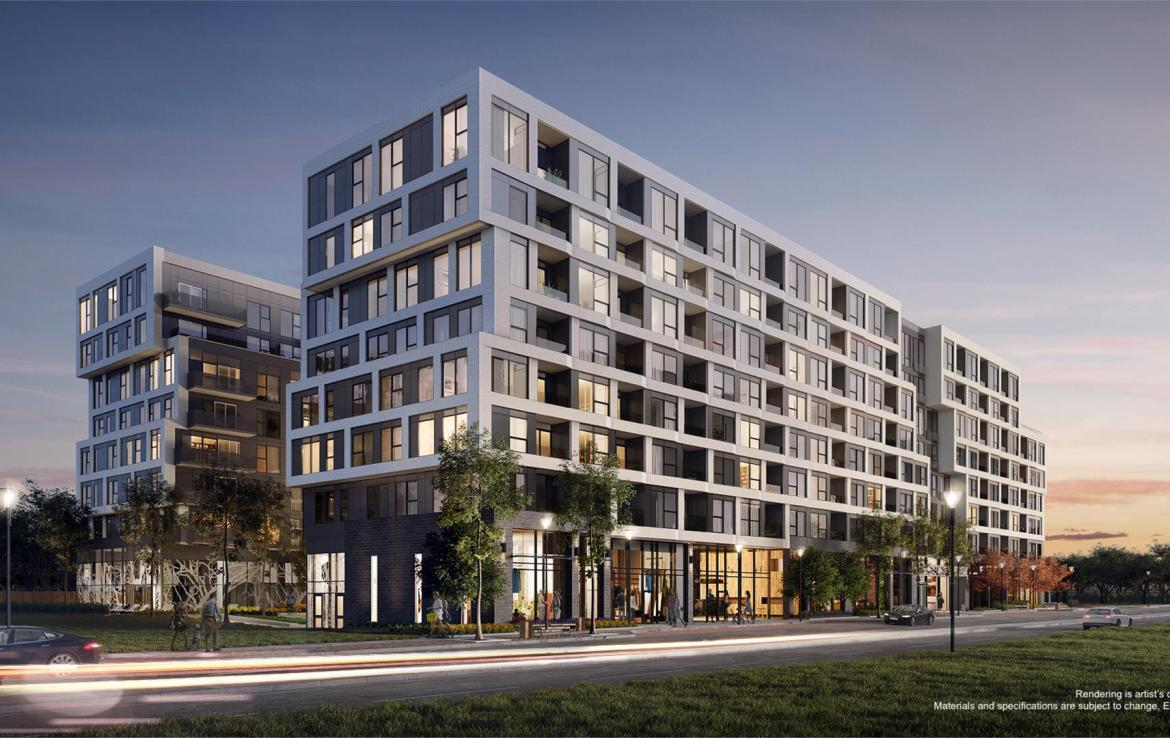 Exterior rendering of The Branch Condos at dusk.