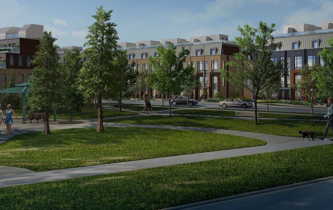 Exterior Rendering of Bartley Towns and Park