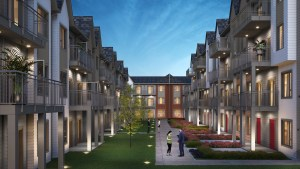 Rendering of Maxx Urban Towns courtyard
