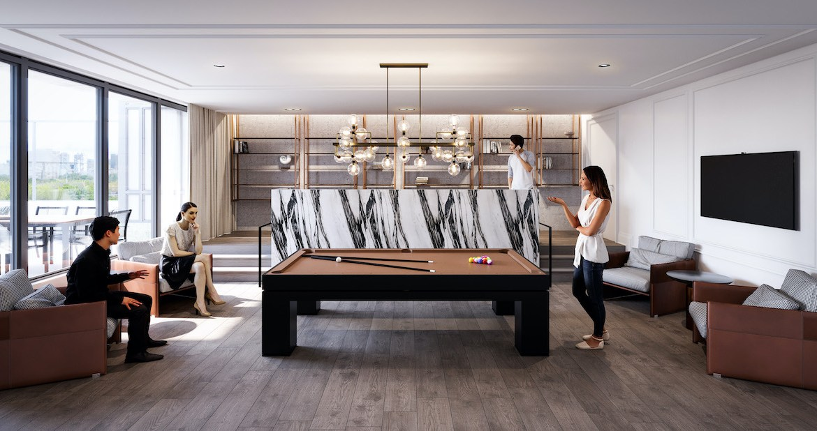 Rendering of The Dylan Condos billiards room.