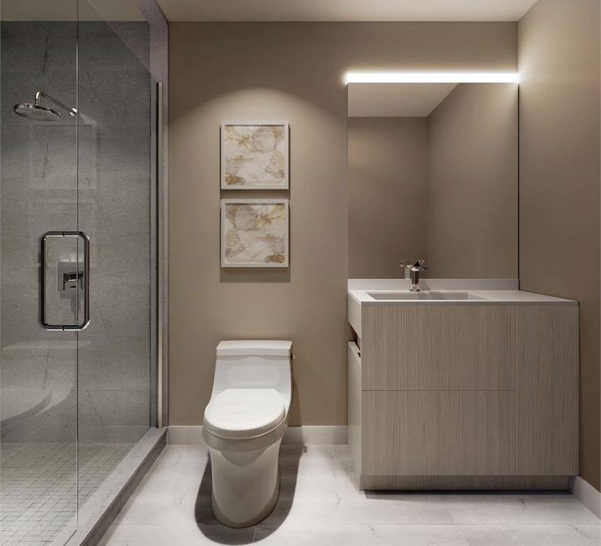 Rendering of St. Clair Village Condos interior suite bathroom.