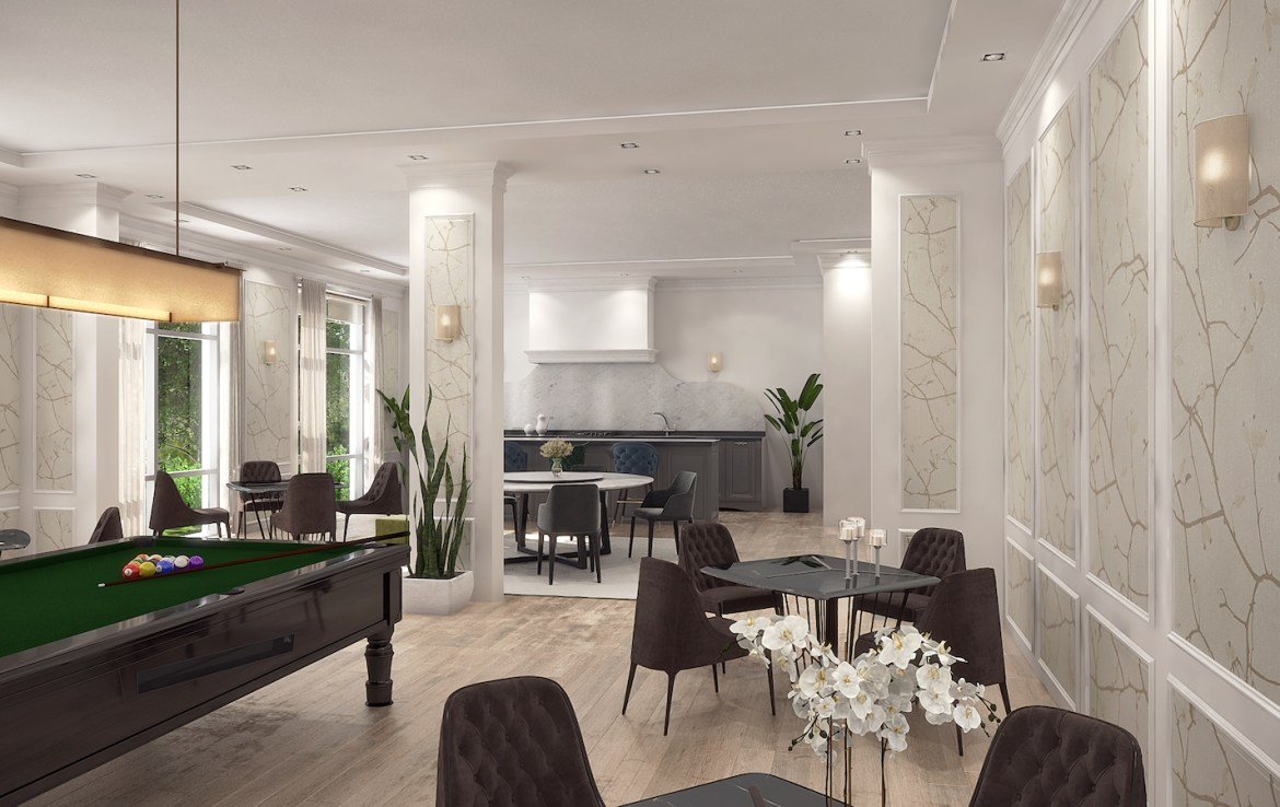 Party Room Rendering of Trend Living Condos