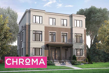 Exterior Rendering of Chroma Towns with Logo Overlay
