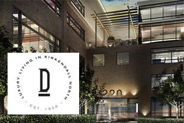 Exterior Rendering of Dundurn Lofts with Logo Overlay