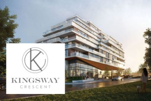 Exterior rendering of Kingsway Crescent Condos and Towns with logo overlay.