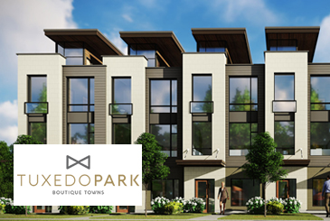 Exterior Rendering of Tuxedo Park Boutique Towns with Logo Overlay