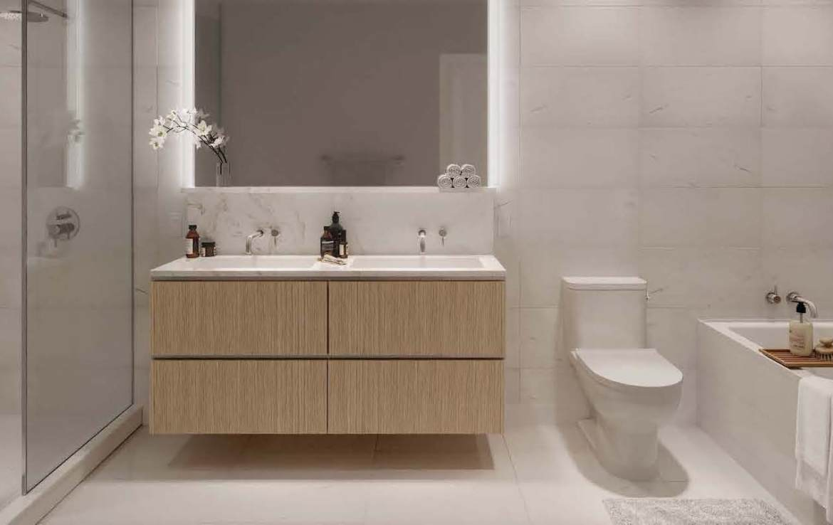 Rendering of Anx on Dupont Condos suite interior bathroom.