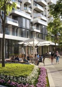 Rendering of Anx on Dupont Condos outdoor patio seating with lush plants.
