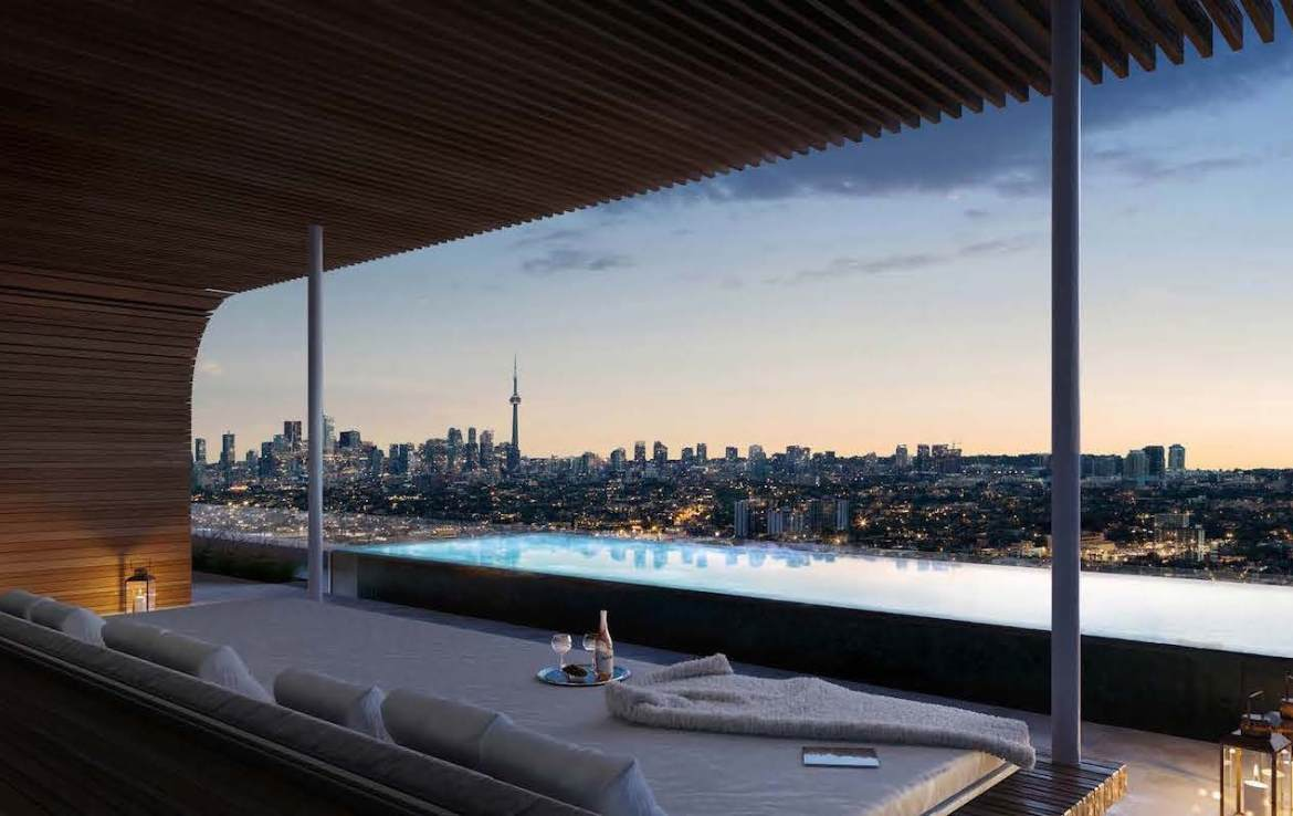 Rendering of Anx on Dupont Condos outdoor pool with city views.