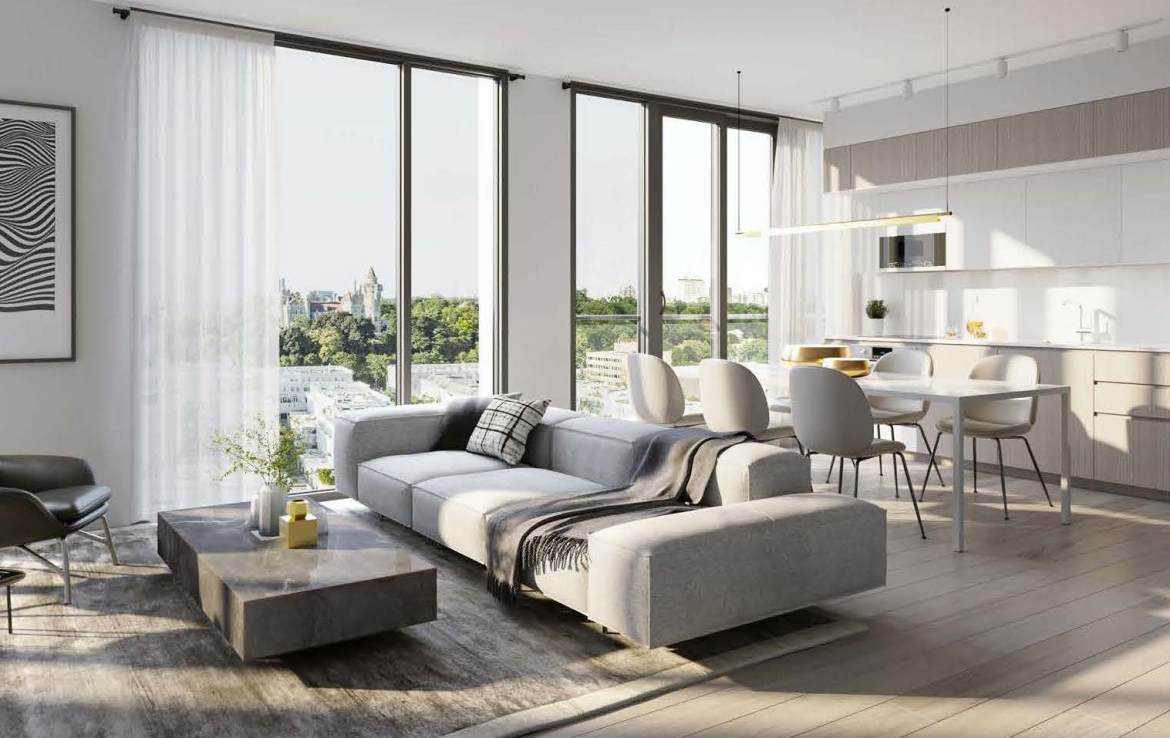 Rendering of Anx on Dupont Condos suite interior open concept living room.