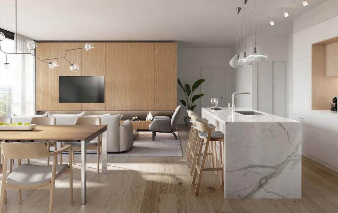 Rendering of Anx on Dupont Condos suite interior open concept kitchen.