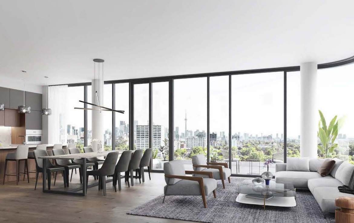 Rendering of Anx on Dupont Condos suite interior open concept living and dining room.