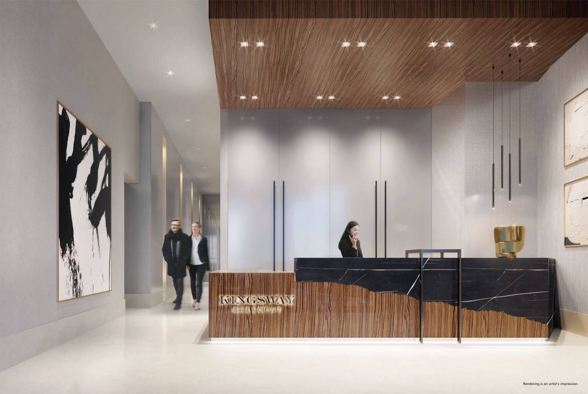 Rendering of Kingsway Crescent Condos lobby with concierge.
