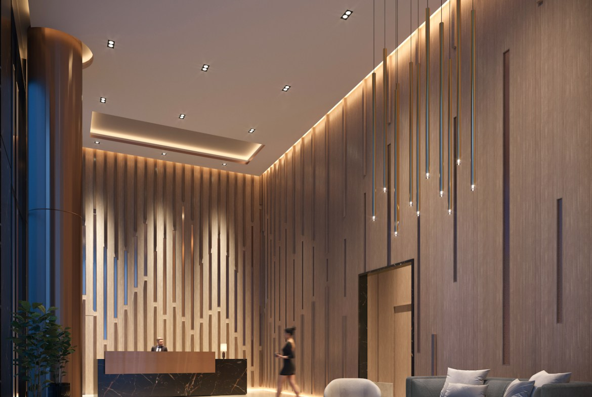 Rendering of 55 Mercer lobby.