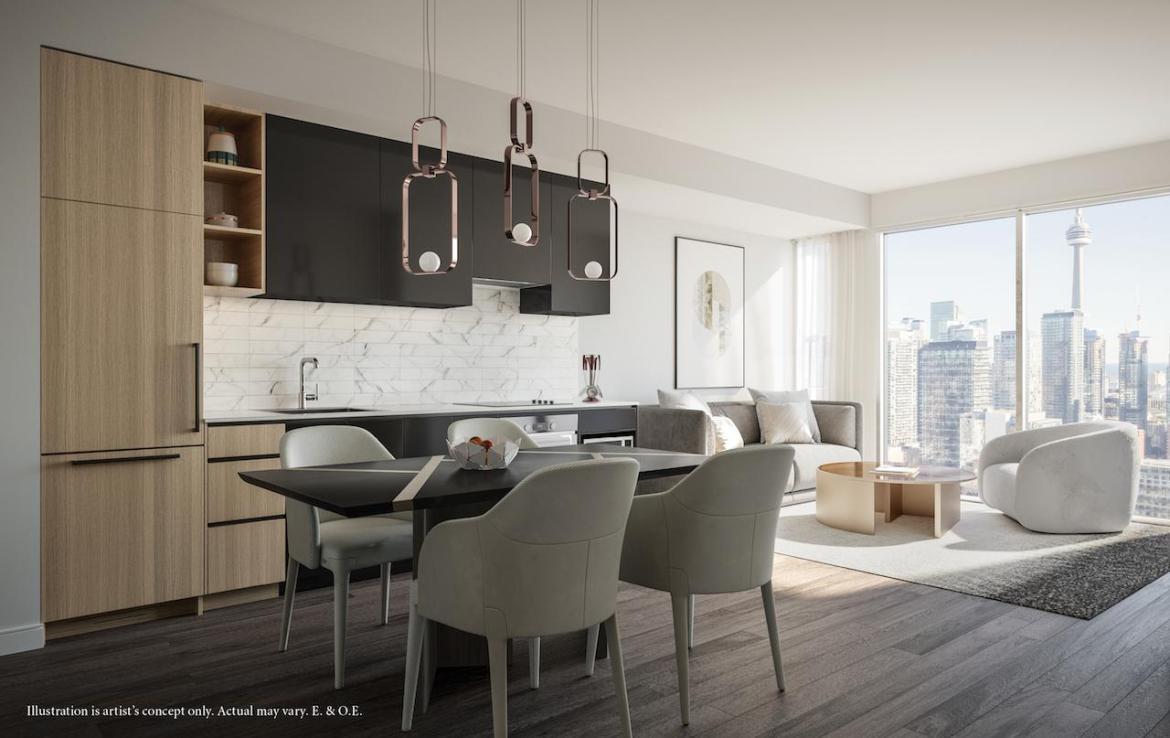 Rendering of 55 Mercer condos interior black coloured cabinetry.
